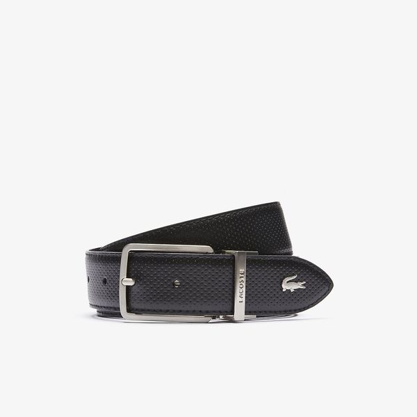 Men's Lacoste Engraved Buckle Reversible Piqué Leather Belt, BLACK, hi-res