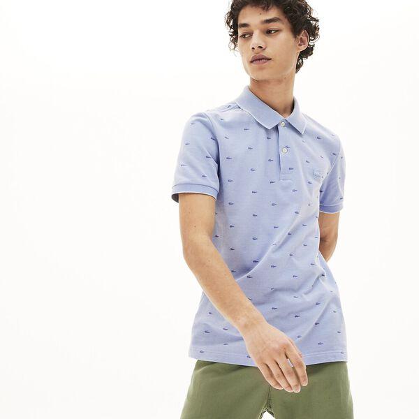 Men's Micro Print Polo Shirt, FARINE/NIMBUS-PLAGE, hi-res