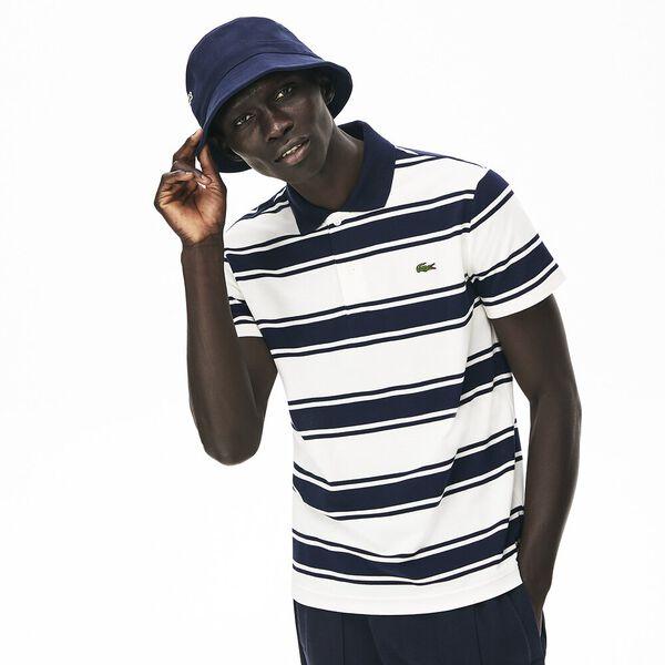 Men's Striped Stretch Cotton Piqué Slim Fit Polo, MARINE/FARINE, hi-res