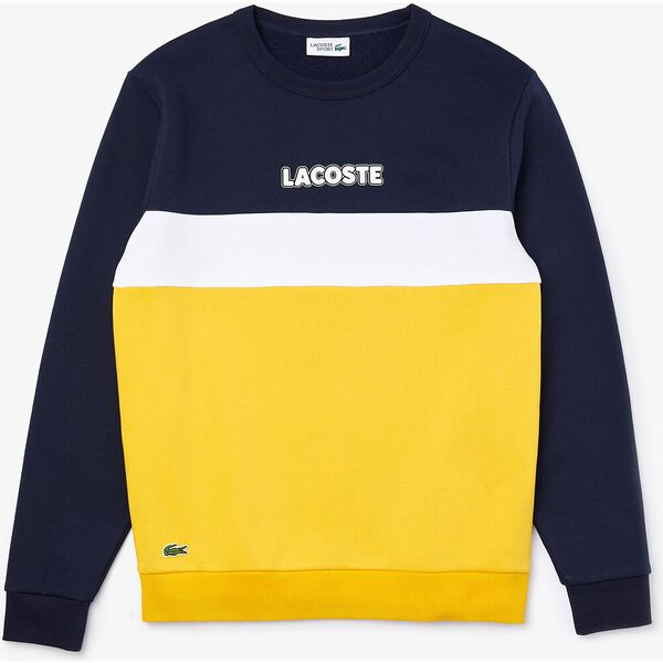 Lacoste Men's SPORT Crew Neck Colorblock Fleece Sweatshirt, NAVY, hi-res