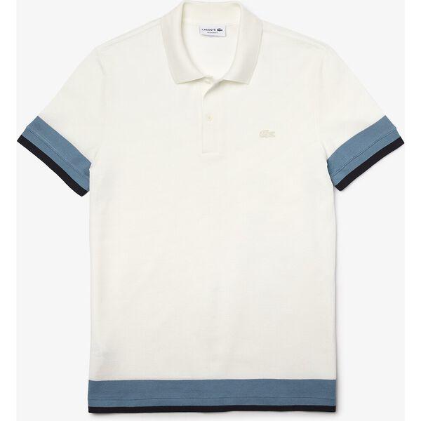 Men's Regular Fit Textured Cotton Piqué Polo, FLOUR/LIMESTONE-ABYSM, hi-res