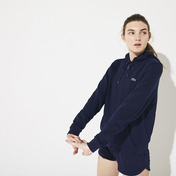 Women's SPORT Tennis Hooded Zippered Fleece Sweatshirt, MARINE/MARINE, hi-res