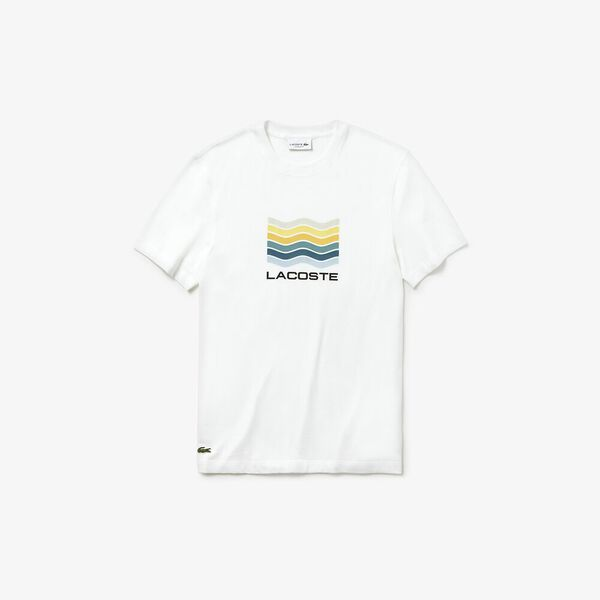 MEN'S FLAG PRINT TEE, WHITE, hi-res