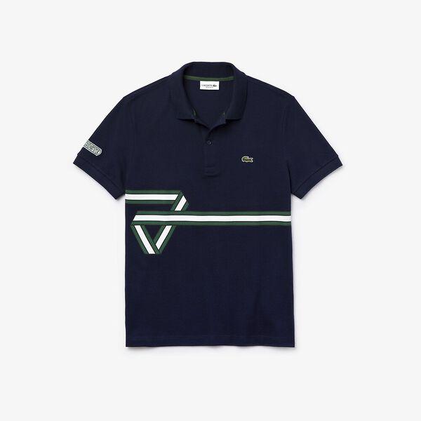 Men's Lacoste Stripe Print Polo Shirt, MARINE, hi-res