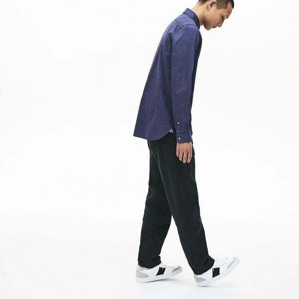 Men's Long Sleeve Slim Fit Jacquard Dot Shirt, NAVY BLUE, hi-res