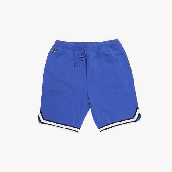 Men's SPORT Striped Hem Fleece Shorts, OBSCURITE/NOIR-BLANC, hi-res