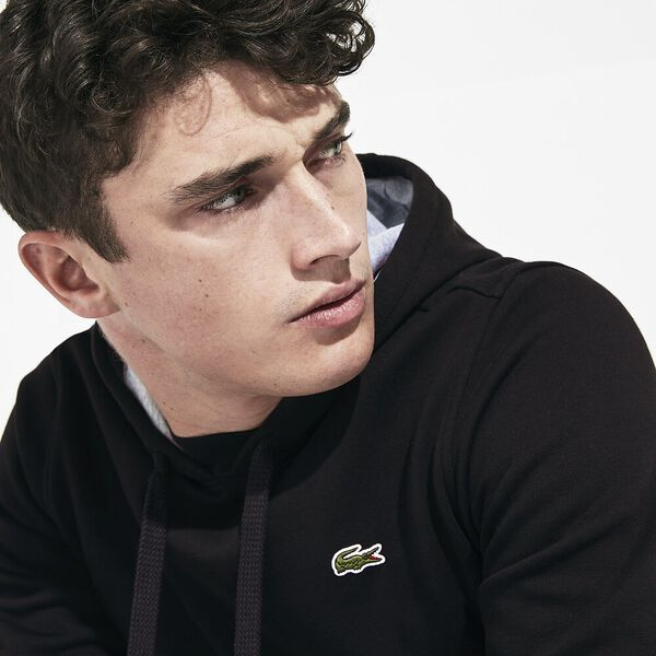 Men's Lacoste Sport Hooded Pullover, BLACK/SILVER CHINE, hi-res