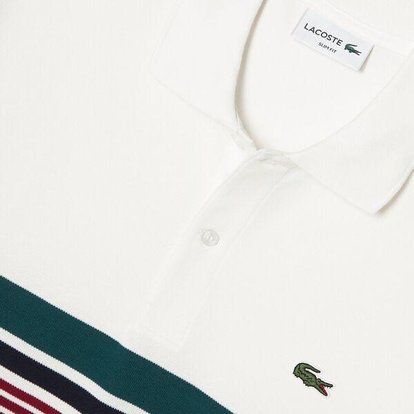 Men's Mini Cotton Piqué Striped Panel Slim Fit Polo, FARINE/PIN-MARINE-BORDEAUX, hi-res