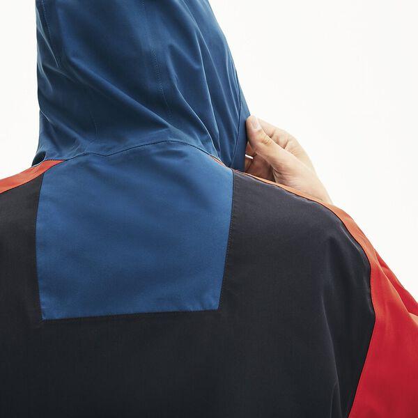 Men's Lacoste Motion Water-Resistant Colourblock Zip Jacket, GRAPHITE SOMBRE/LEGION-CORRIDA-VIENNOIS, hi-res