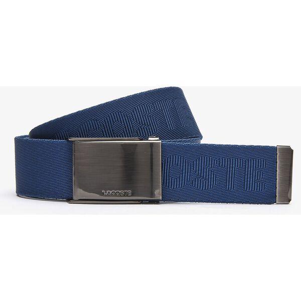 Men's Engraved Plate Buckle Woven Belt, BLACK, hi-res