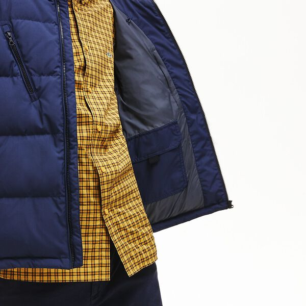 Men's Classic Bicolour Short Down Jacket, NAVY BLUE/GRAPHITE, hi-res