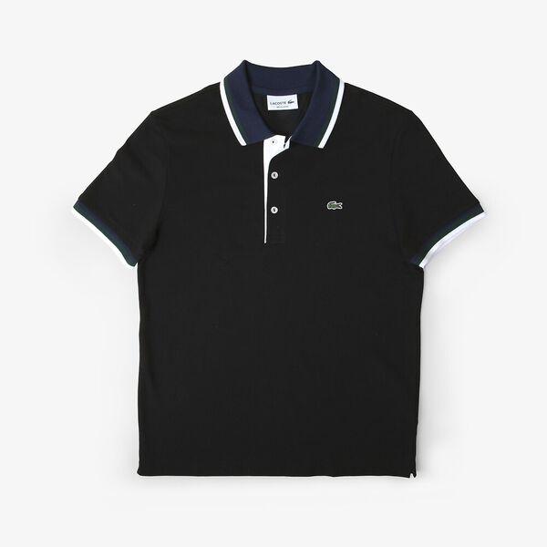 Men's Lacoste Cotton Piqué Tricolor Details Regular Fit Polo, BLACK/NAVY BLUE-WHITE-SIN, hi-res