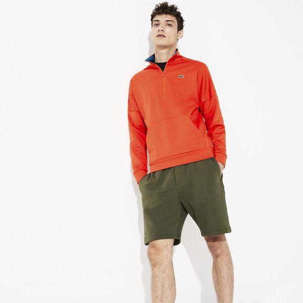 Men's Lifestyle Non Brushed Sweat With Zip, GERANIUM/ILLUMINATION, hi-res