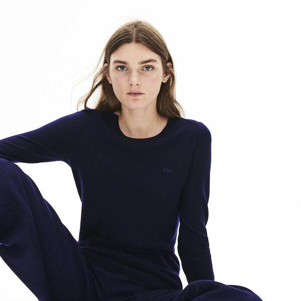 Women's Classic Wool Crew Neck Knit, NAVY BLUE, hi-res