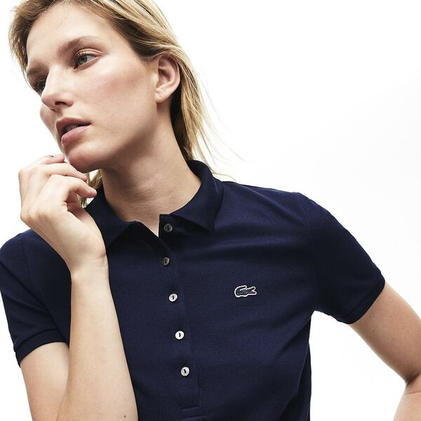 Women's 5 Button Slim Stretch Core Polo, NAVY BLUE, hi-res