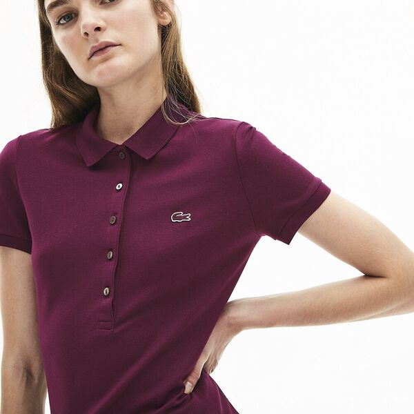Women's Classic Slim Fit Polo Dress, EGGPLANT, hi-res