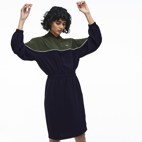 WOMEN'S TWO TONE BLOCK ROUND COLLAR DRESS, CAPER BUSH/NAVY BLUE/FLOUR, hi-res