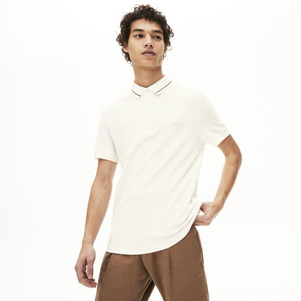 Men's Lacoste Regular Fit Linen And Cotton Blend Polo Shirt, FARINE/MARINE, hi-res