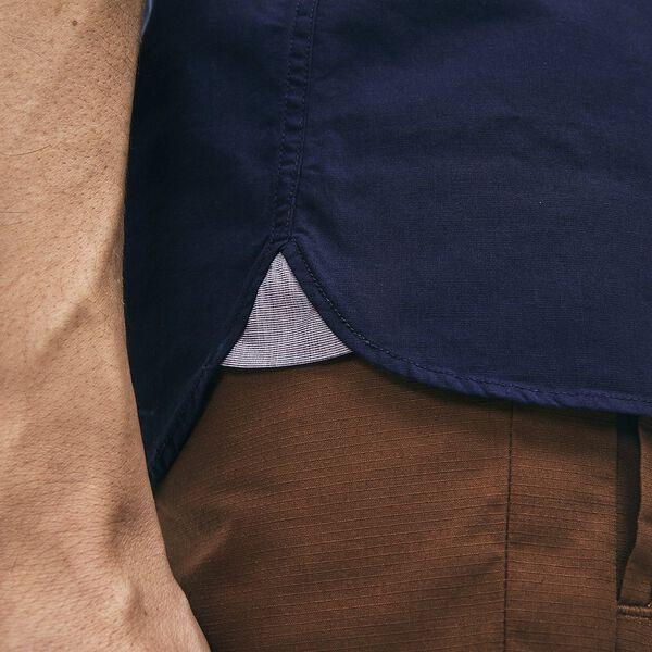 Men's Slim Fit Stretch Popelin Shirt, NAVY BLUE, hi-res