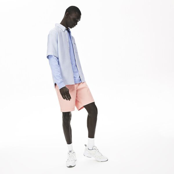 Men's Short-Sleeved, Light Cotton Shirt, PHOENIX/BLANC, hi-res