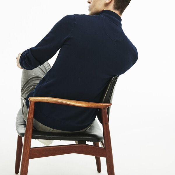 Men's Classic Half Zip Mock Neck Knit, NAVY BLUE/FLOUR-NAVY BLUE, hi-res