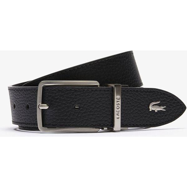 Men's Engraved Buckle Grained Leather Belt, NOIR, hi-res