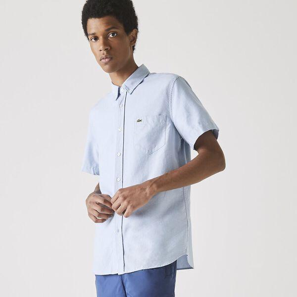 Men's Classic Short Sleeve Reg Fit Oxford Shirt, HEMISPHERE BLUE, hi-res