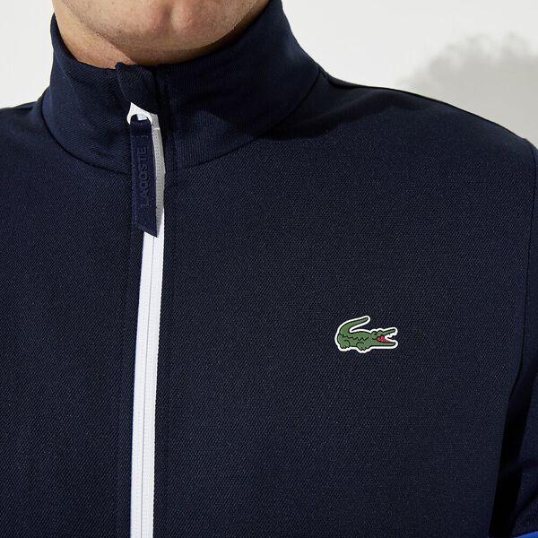Men's Lacoste SPORT Colourblock Resistant Piqué Zip Sweatshirt, MARINE/OBSCURITE-BLANC, hi-res