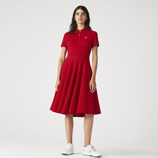 Women's Fitted Polo Dress, RED, hi-res