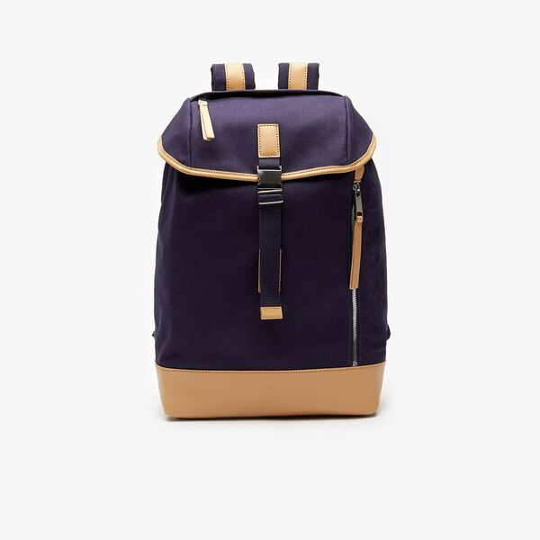 Men's Leather Finishes Cotton Flap Backpack