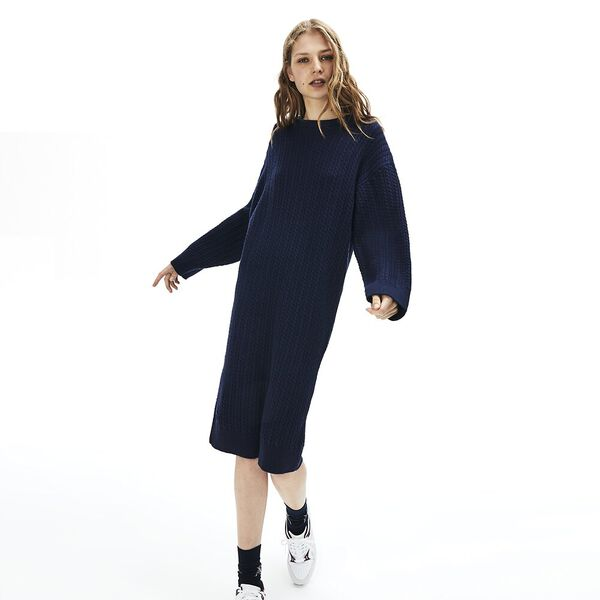 Women's Classic Cable Dress, NAVY BLUE, hi-res