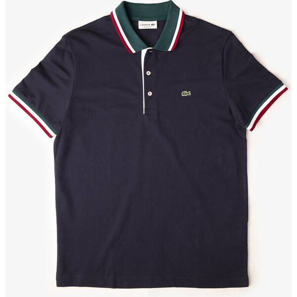 Men's Cotton Piqué Tricolor Details Regular Fit Polo, MARINE/PIN-BLANC-BORDEAUX, hi-res