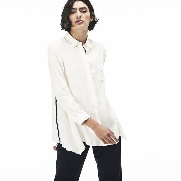 WOMEN'S SIDE STRIPE SHIRT, WHITE/NAVY BLUE/INKWELL, hi-res