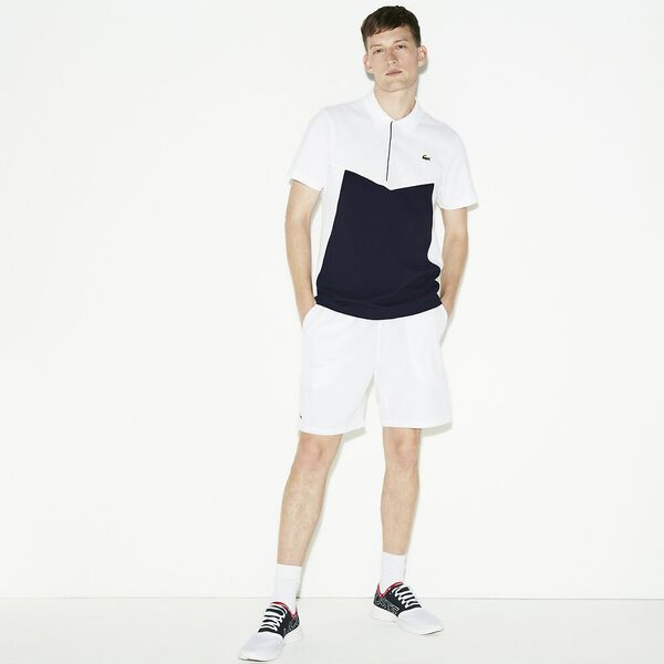 MEN'S TENNIS PERFORMANCE PANEL POLO, WHITE/NAVY BLUE, hi-res