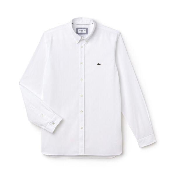 Men's Slim Fit Stretch Popelin Shirt, WHITE, hi-res
