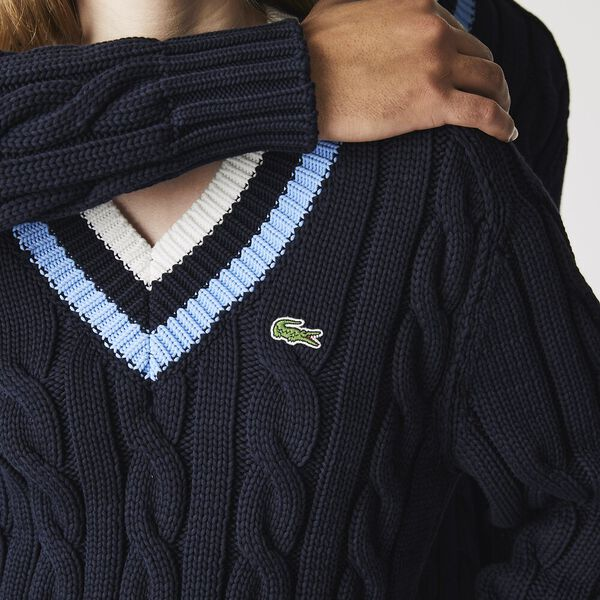 Unisex V-Neck Striped Knit Sweater, NAVY, hi-res
