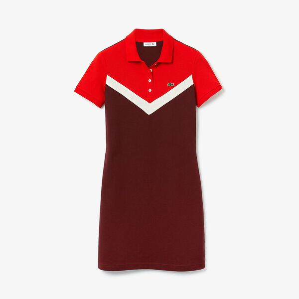 Women's Color-Blocked Stretch Cotton Polo Dress, PRUNEAU/FOUINE-CORRIDA, hi-res
