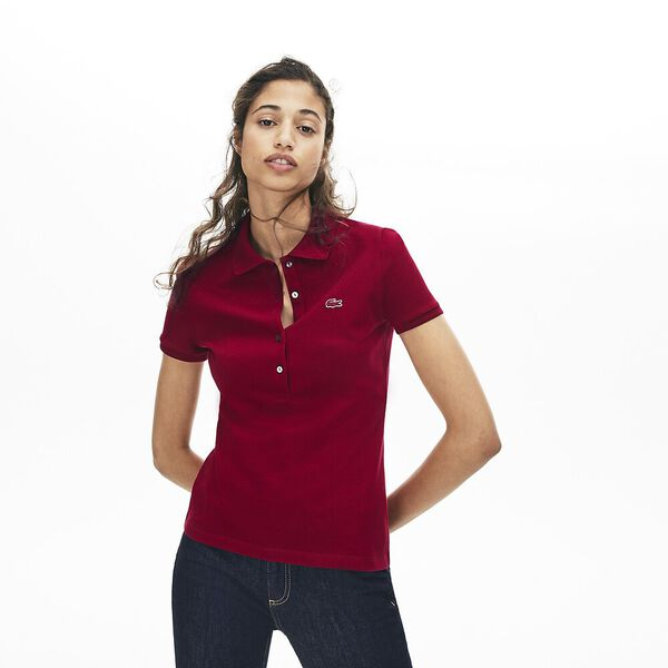 Women's 5 Button Slim Stretch Core Polo, BORDEAUX, hi-res