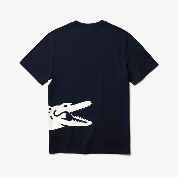 Men's Oversized Crocodile Print Crew Neck T-shirt, MARINE, hi-res