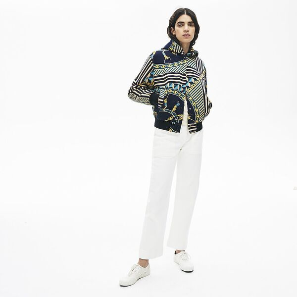 Women's Lacoste LIVE Light Scarf Print Bomber Jacket, MARINE/MULTICO, hi-res