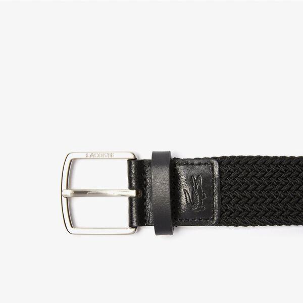 Men's Engraved Buckle Stretch Knitted Belt, BLACK, hi-res