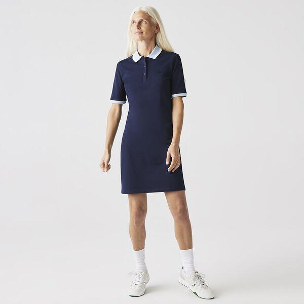 Women's Contrast Collar Stretch Cotton Polo Dress, NAVY BLUE/FLOUR-CREEK, hi-res