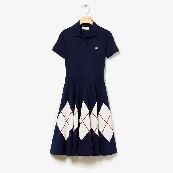 Women's Made In France Fit & Flare Pique Dress, NAVY BLUE/FLOUR-ALIZARIN, hi-res