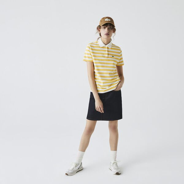 Women's Regular Fit Mesh Collar Striped Cotton Polo, ANTHEMIS/FLOUR, hi-res