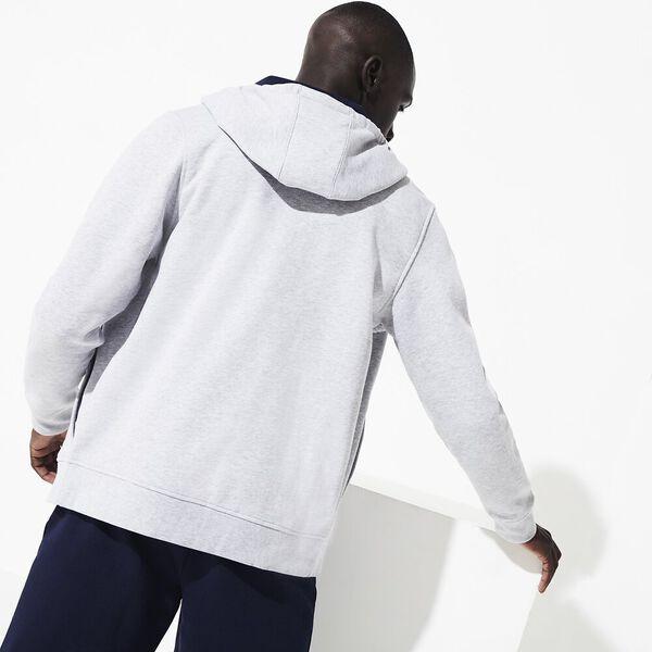 Men's Basic Sport Hoodie, SILVER/NAVY BLUE, hi-res