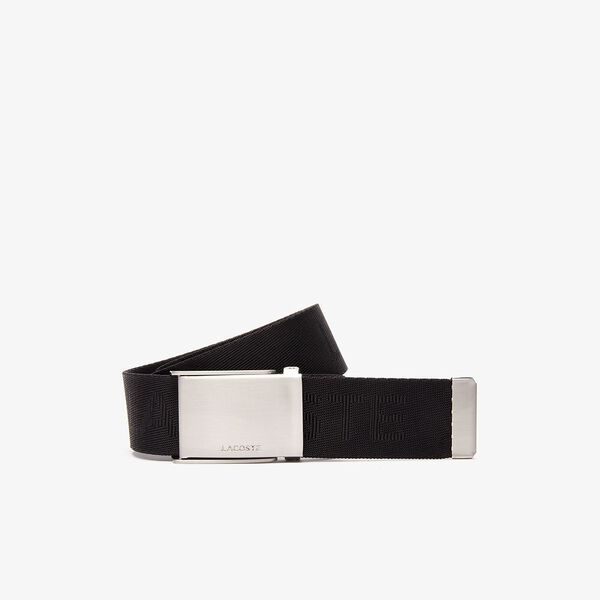 Men's Embossed Woven Belt, BLACK, hi-res