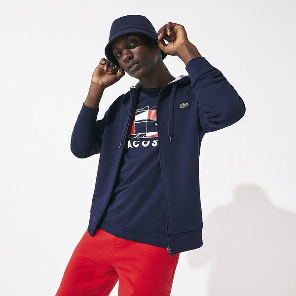 Men's SPORT Fleece Cotton Blend Hoody Sweatshirt, MARINE/ARGENT CHINE, hi-res