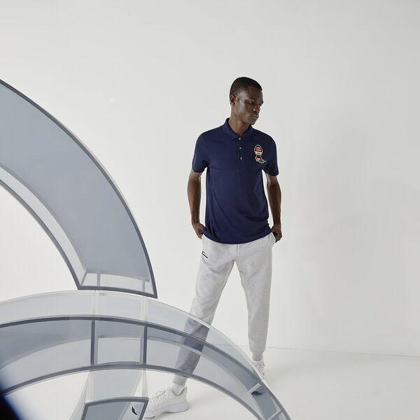 Men's SPORT Collab Youssef SY Cotton Piqué Polo Shirt, NAVY BLUE/WHITE, hi-res