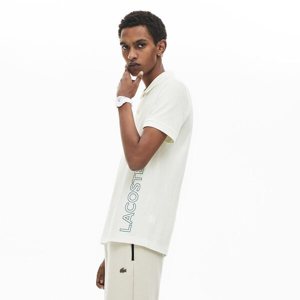 Men's Branded Cotton Polo Shirt, FARINE, hi-res