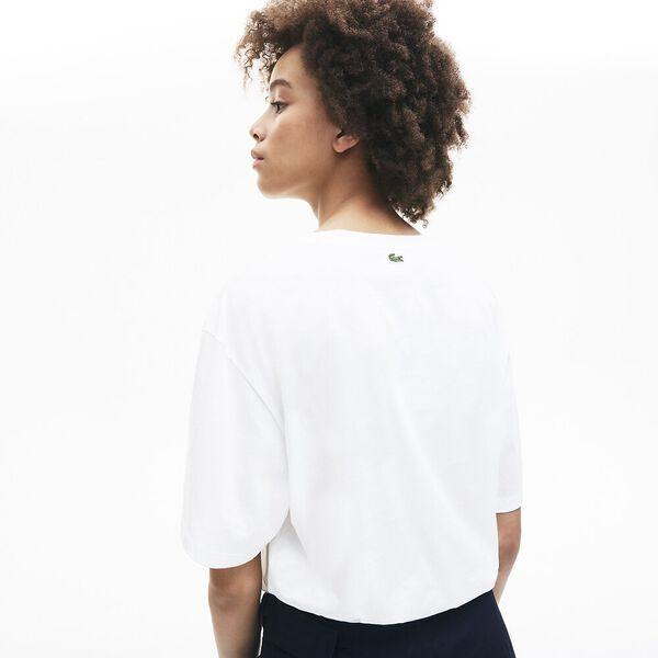 Women's Signature Printed Crew Neck Cotton T-shirt, BLANC/METHYLENE, hi-res